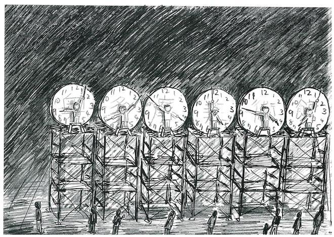 《24時間 間時計のためのドローイング》 《Drawing for 24h Human Clock》