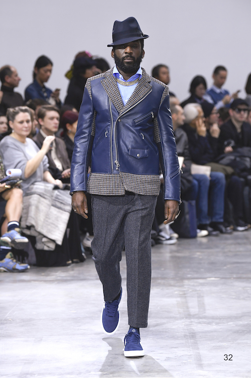 Model wears an outfit , as part of the men s wear autumn winter 2020 2021, men fashion week, Paris,  France, from the house of Junya Watanabe