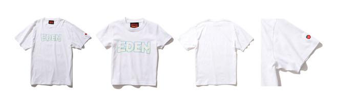 (左から1番目) EDEN × BEAMS LOGO T Color:WHITE Price:¥5,280(inc.tax) Size:S/M/L/XL/XXL  (左から2番目) EDEN × BEAMS LOGO T KIDS Color:WHITE Price:¥3,300(inc.tax) Size:100、120、140