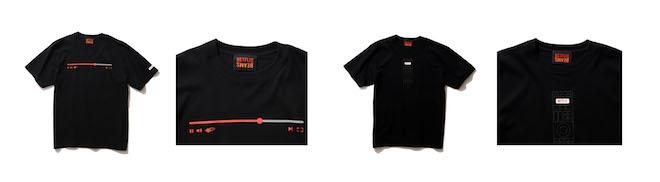 (左から1、2番目) Netflix × BEAMS PLAYBAR T-SHIRT Color:BLACK Price:¥5,280(inc.tax) Size:S/M/L/XL/XXL (左から3、4番目) 今回のコンセプトが伝わるリモコンT。の文字はシリコンパッチを採用。つい押したくなるような立体的なデザインで、コミュニケーションツールにもなるTシャツ。 Netflix × BEAMS REMOTE CONTROLLER T-SHIRT Color:BLACK Price:¥5,280(inc.tax) Size:S/M/L/XL/XXL