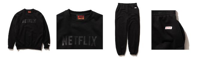 (左から1、2番目) Netflix × BEAMS CREW NECK SWEATSHIRT Color:BLACK Price:¥8,250(inc.tax) Size:S/M/L/XL (左から3、4番目) Netflix × BEAMS SWEAT PANTS Color:BLACK Price:¥8,250(inc.tax) Size:S/M/L/XL